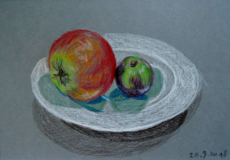 Porzellan, Apfel, Obst, Feige, Teller, Zeichnungen