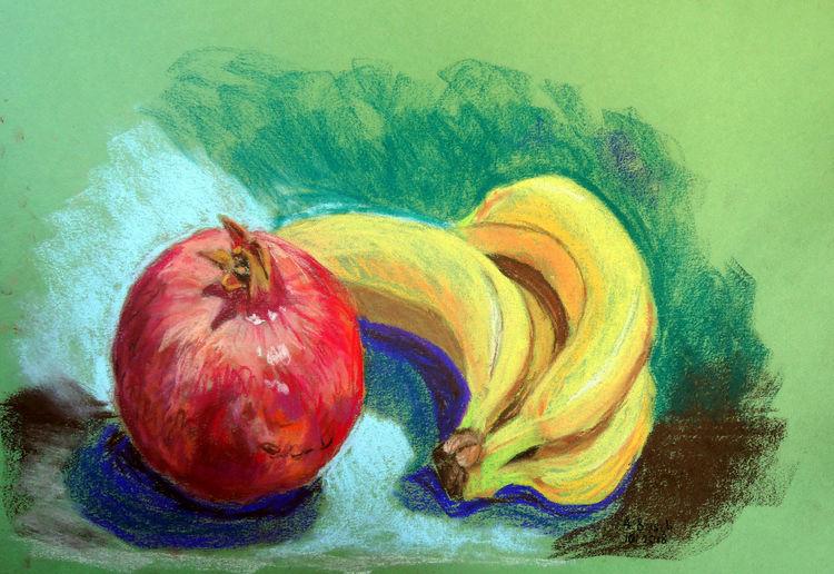 Granatapfel, Früchte, Banane, Obst, Zeichnungen