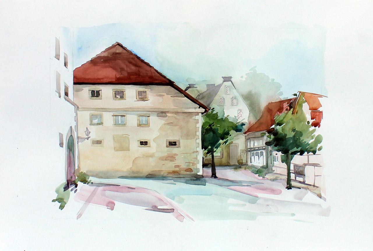 Bild redenhof architektur stadt aquarell von anna for Architektur aquarell