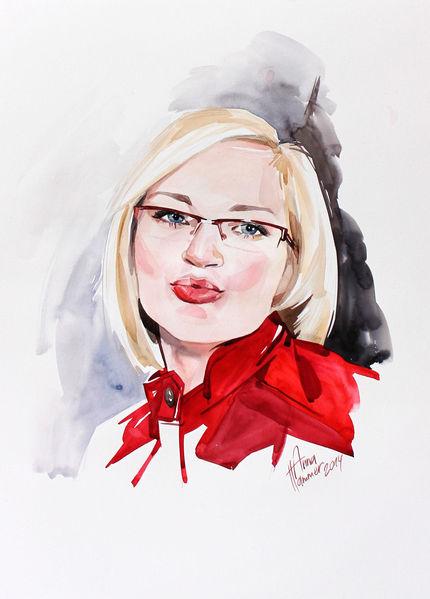 Aquarellmalerei, Portrait, Frau, Aquarell