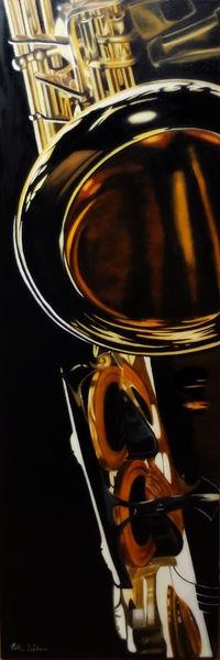 Fotorealismus, Saxofon, Musik, Jazz, Spiegelung, Malerei