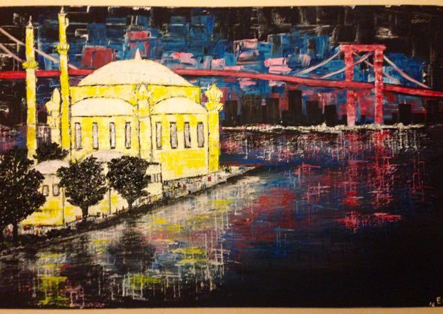 Stadt, Gebäude, Wasser, Malerei, Istanbul