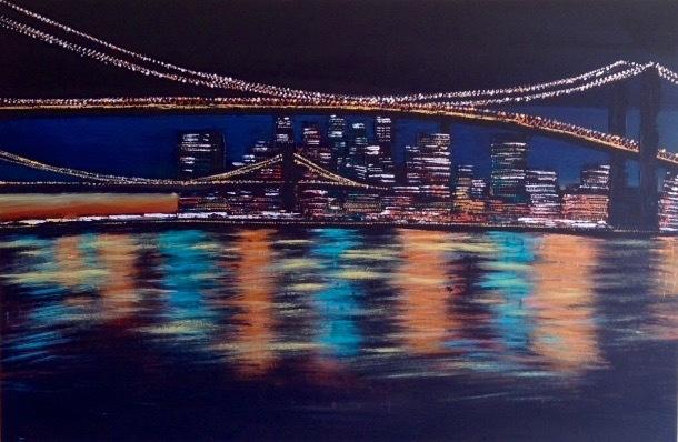 Gebäude, Stadt, Wasser, Malerei