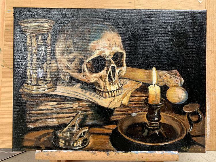 Schädel, Knochen, Vanitas, Gruselig, Stillleben, Malerei
