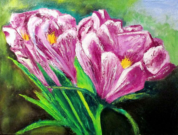 Ölmalerei, Krokus, Szene, Frühling, Malerei, Zeichnen