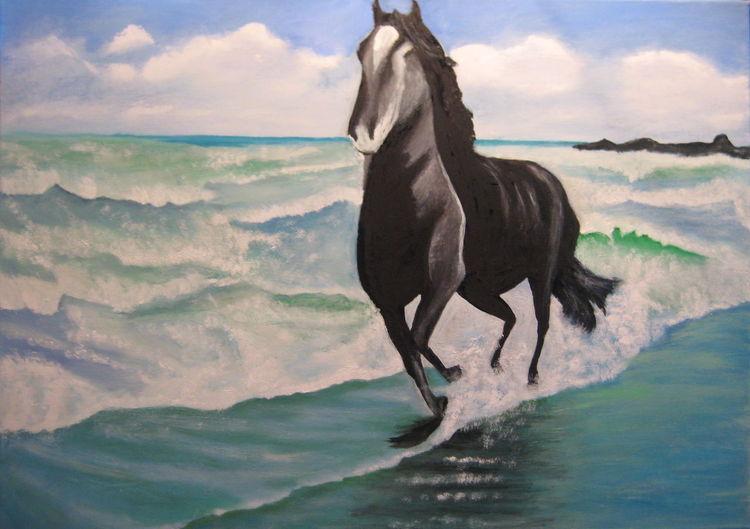 Wellenreiten, Meer, Meereslandschaft, Dämmerung, Pferde, Landschaftsmalerei