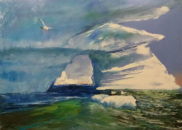 Ölmalerei, Eisberg, Stimmung, Winter, Spachteltechnik, Landschaft
