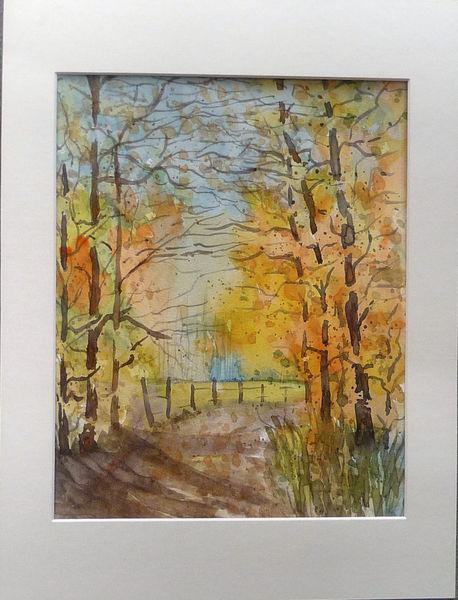 Baxrainer, Waldweg, Aquarellmalerei, Herbst, Aquarell, Herbstwald