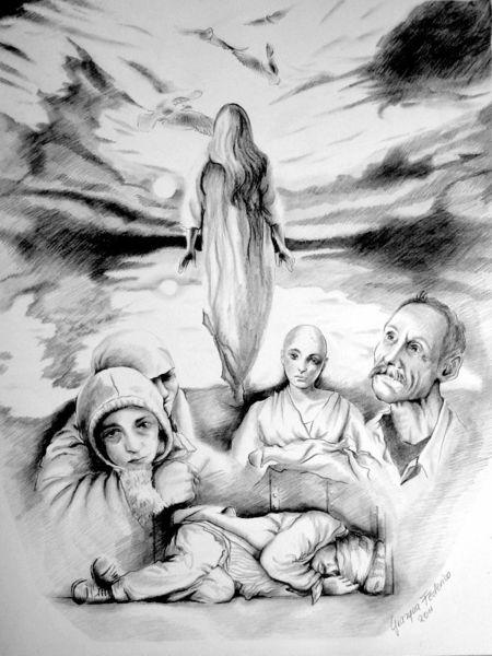 Erwachen, Grazyna federico, Menschen, Gesellschaft, Schwarz weiß, Bleistiftzeichnung