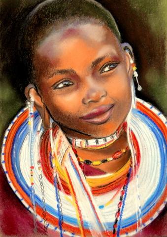 Mädchen, Pastellmalerei, Schmuck, Tradition, Afrika, Massai