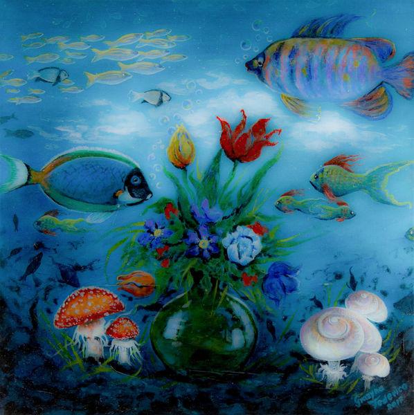 Tiefe, Botanik, Fisch, Acrylmalerei, Wasser, Blumen