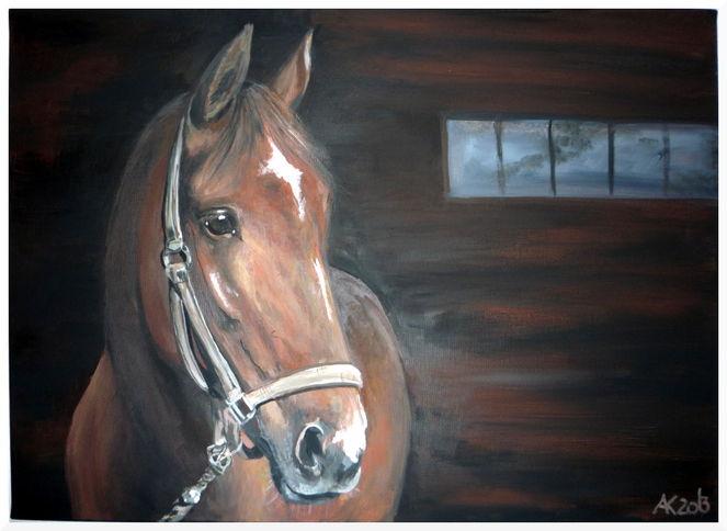 Licht, Realistisch fuchsstute, Schatten, Pferde, Malerei, Portrait