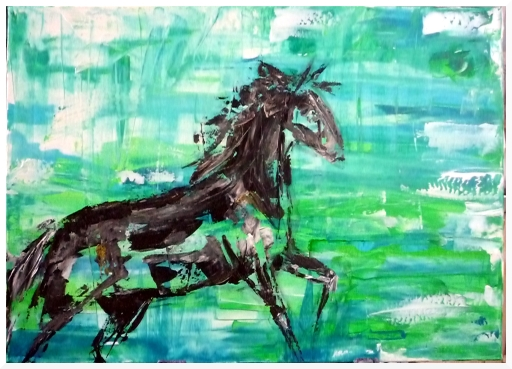 Türkis, Hengst, Pferde, Galoppieren, Spachtel, Malerei