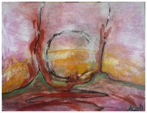 Sonne, Baum, Landschaft, Rot, Malerei, Sonnenaufgang