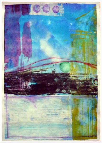 Abstrakt, Himmel, Blue bridge, Wasser, Malerei