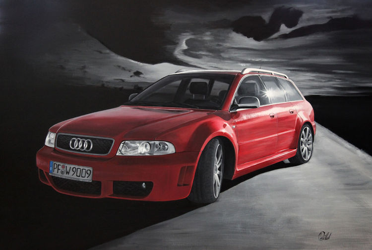 Audi, Silber, Schwarzweiß, Rot, Wolken, Straße