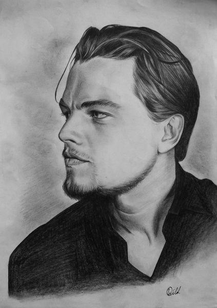 Leonardo dicaprio, Zeichnung, Gesicht, Mann, Schwarzweiß, Portrait