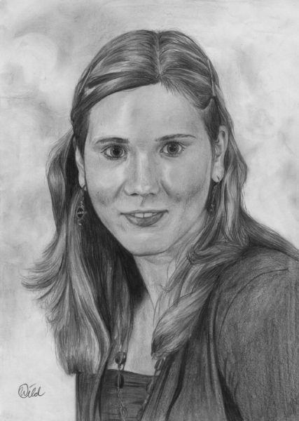 Zeichnung, Mädchen, Portrait, Bleistiftzeichnung, Malerei