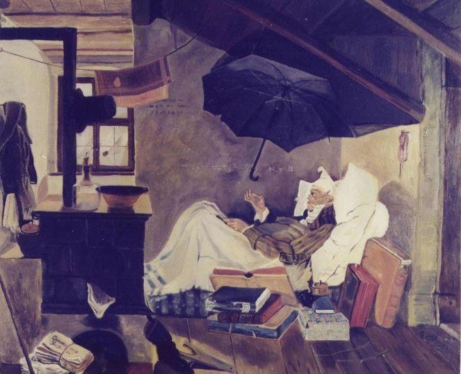 Repro, Armer poet, Spitzweg, Malerei, Ölmalerei