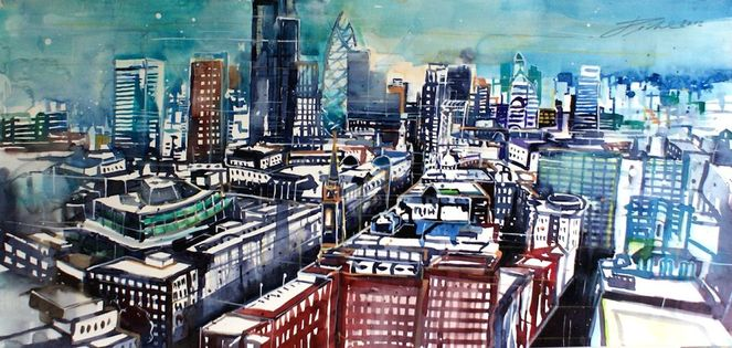 Aquarellmalerei, Bankenviertel, Hochhaus, London, Stadtlandschaft, Stadt