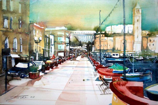 Aquarellmalerei, Boot, Malta, Hafen, Insel, Aquarell