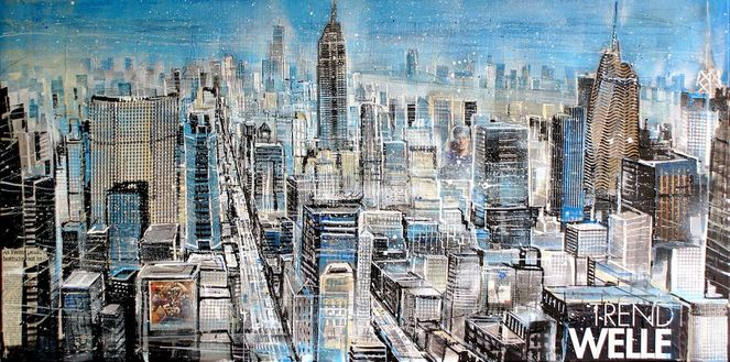 Newyork, Mixed media, Collage, Manhattan midtown, Usa, Großstadt
