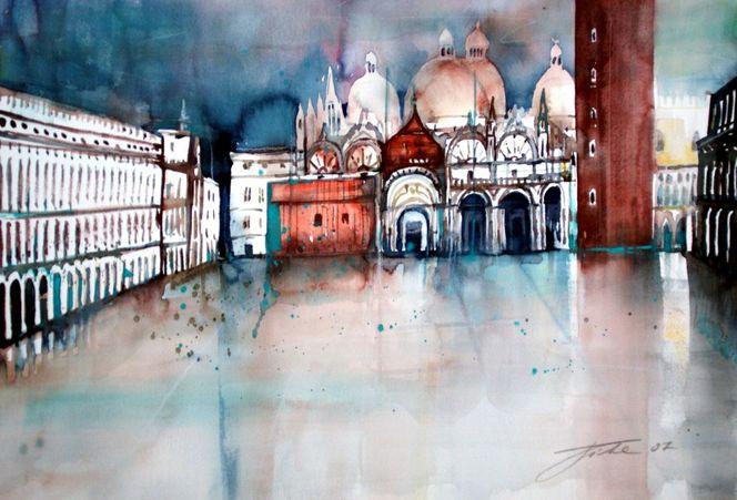 Markusplatz, Aquarellmalerei, Venedig, Italien, Venezia, Aqua alta