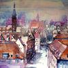 Dachlandschaft, Stadtlandschaft, Aquarellmalerei, Stadtansicht