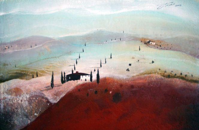 Landschaft, Toskana, Acrylmalerei, Italien, Malerei