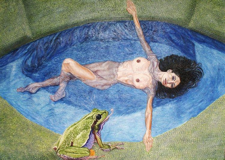 Akt, Froschperspektive, Frosch, Malerei