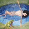 Frosch, Akt, Froschperspektive, Malerei