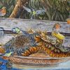 Wildvögel, Sonnenblumen, Erntedankfest, Teller