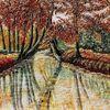 Herbst, Baumallee, Fluss, Spiegelung ii