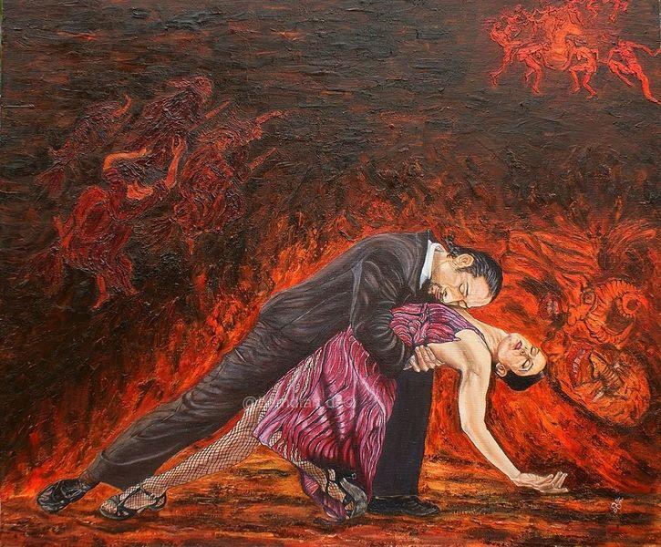 Hexe und teufel, Walpurgisnacht, Tangopaar, Malerei