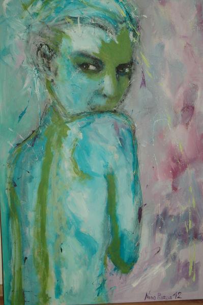 Blau, Blick, Grün, Rücken, Frau, Malerei