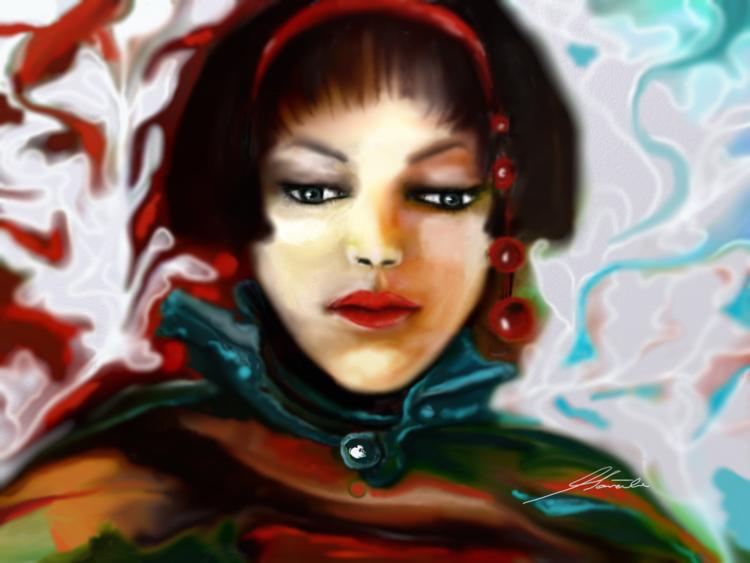 Fantasie, Frau, Ausdruck, Digitale kunst, Malerei, Traurigkeit