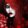 Rot, Frau, Blumen, Ausdruck