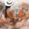 Frau, Blumen, Sommertag, Digitale kunst