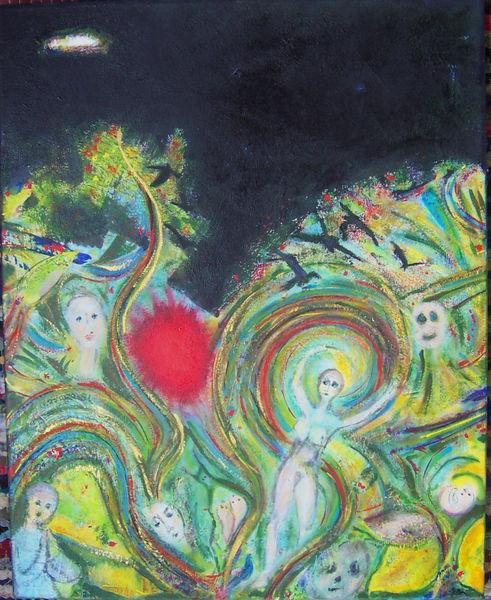 Figurativ, Bunt, Schwarz, Spiel, Acrylmalerei, Malerei