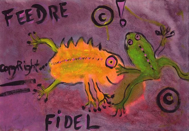 Frosch, Grünlaubfrosch copyright, Goldsalamander, Lilagepunkteter, Malerei, Figural