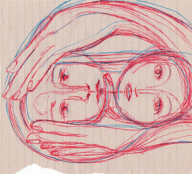 Menschen, Holding, Paar, Skizze, Hände, Halt