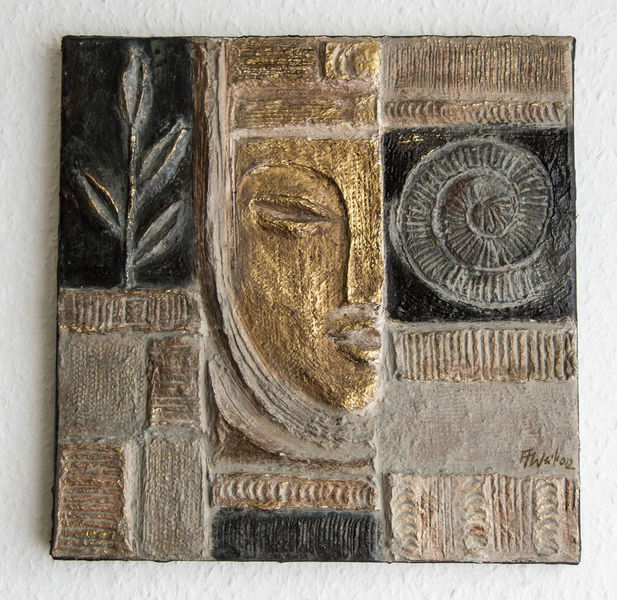 Relief, Zement, Maske, Natürlich, Gold, Skulptur