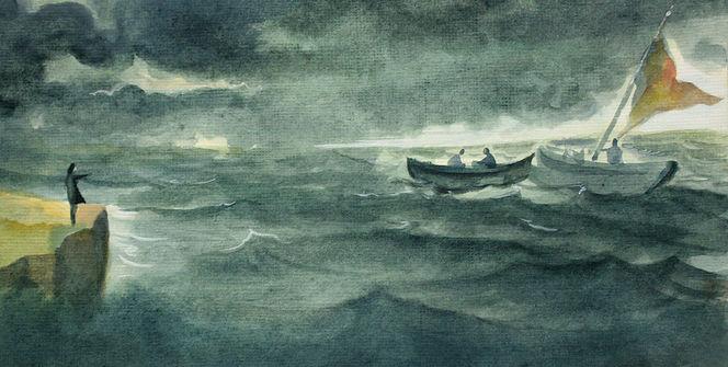 Sturm, Dunkel, Grün, Boot, Blau, Gewitter