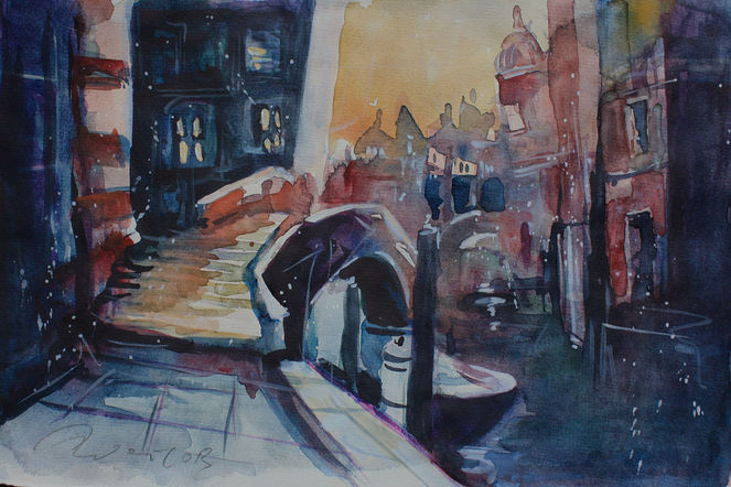 Venedig abendstimmung, Blau, Pinsel, Farben, Aquarellmalerei, Aquarell