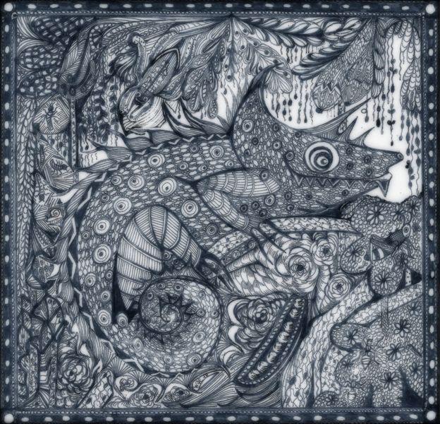 Tanglic, Zeichnung auf papier, Kleines ungeheuer, Zeichnungen