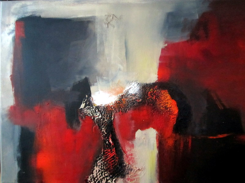 bild grau abstrakt rot malerei von silvia sailer bei kunstnet. Black Bedroom Furniture Sets. Home Design Ideas