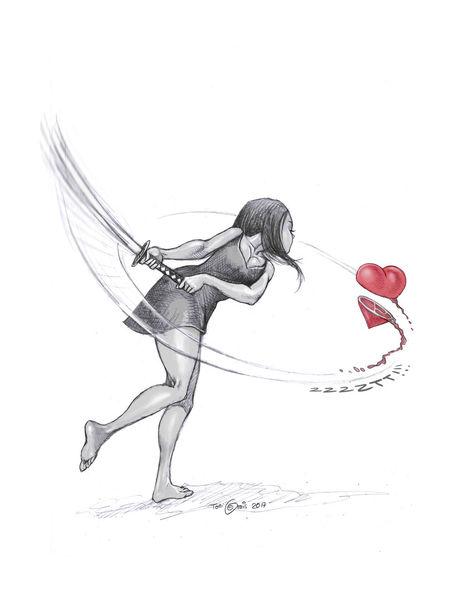 Schwert, Herz, Frau, Zeichnungen