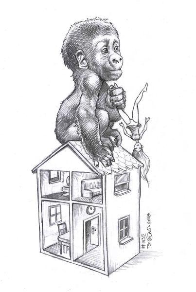 Gorilla, Barbie, Puppenhaus, Zeichnungen