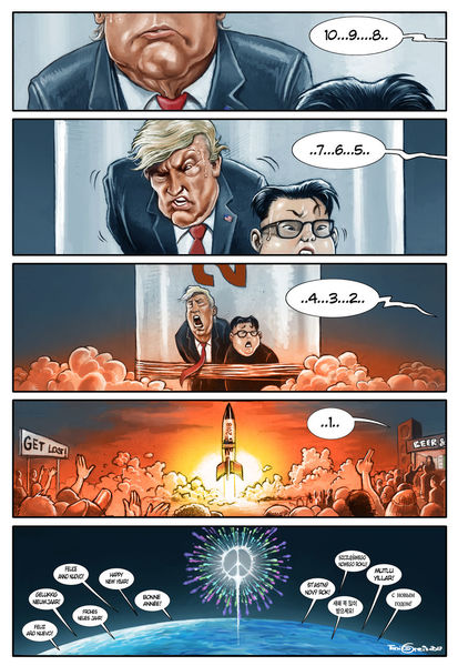 Trump, Kim jong un, Silvester, Illustrationen