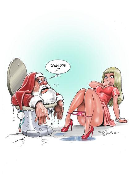 Santa, Weihnachtsmann, Toilette, Illustrationen